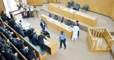 PIC. 1. THE EMPTY DOCK AS THE SENATE PRESIDENT BUKOLA SARAKI WAS   ABSENT AT THE CODE OF CONDUCT TRIBUNAL WHERE IS STANDING TRIAL FOR   PERJURY IN ABUJA ON MONDAY (21/9/15). /21/9/2015/BJO/CH/NAN