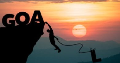 Silhouette Man climbs into cliff to make the word GOAL (goal setting concept)